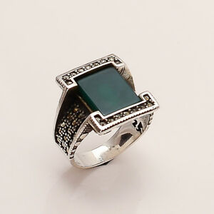 Real Green Aqeeq Onyx Ottoman Mens Ring 925 Sterling Silver Christmas Jewelry AA