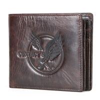 Retro Men's Genuine Leather Wallet Eagle Credit Card Holder Coin Pocket Purse