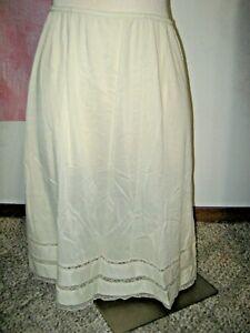 UNBRANDED Beige Ivory Lace Edge Elastic Stretch Waist Half Skirt Slip XLARGE
