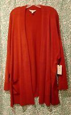 Women's plus 3X Terra & Sky 2 pocket cardigan sweater rust NWT