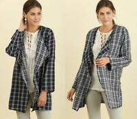 Reversible Navy Blue White Plaid Check Open Front Blazer 283 mv Jacket S M L