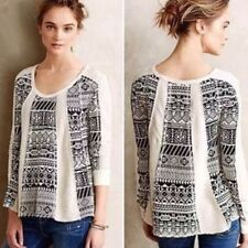 LILKA Anthropologie Geo-Jacquard Swing Pullover sweater black white soft M