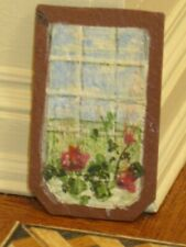 Florence Magee Hand Painted Poinsettia Slate Board Artist Dollhouse Miniature