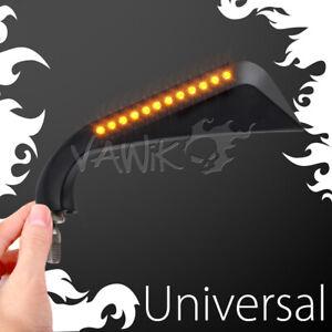 VAWiK - Axe black mirrors w/ LED turn signals M10 fits custom street bike ε