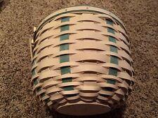 Longaberger Large Award Basket with Green Weave and Swinging Handle