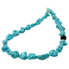 Necklace Turquoise-Howlite & Onyx 925 Silver Gold Plated Natural Stones 50cm