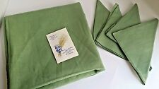 Vintage Belgian Flax Matching Linen Tablecloth and 4 Cloth Napkin Set Green