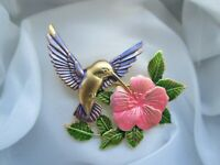 Vintage JJ Jonette Jewellery Gold Tone Enamel Hummingbird Flower Brooch Pin