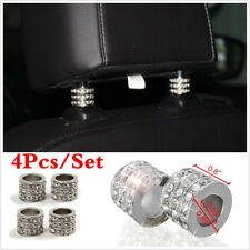 4PCS Chrome Bling Crystal Car Headrest Pole Collars Decor Interior Accessories