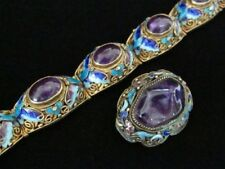 Vintage Antique Chinese Sterling Silver Butterfly Enamel Amethyst Bracelet Pin