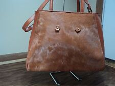 IMAN Milk Chocolate Leather & Faux Fur Shoulder Bag, RARE, MUST SEE