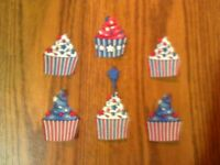 Patriotic Cupcake  - 6 - Iron-On Fabric Appliques.