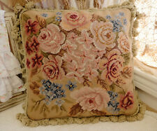 """16"""" Fabulous Antique Hand Woven Needlepoint Pillow Blooming Floral Pink Rose"""