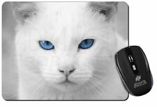 Blue Eyed White Cat Computer Mouse Mat Christmas Gift Idea, AC-6M