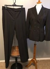Tahari ASL Pant Suit Womens 8 Dk Gray Dbl Breasted Button Pinstripe  Match Pants