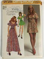 "1970's VINTAGE SEWING PATTERN SIMPLICITY 9725 Miss Size 12 Bust 34"" UNCUT DRESS"