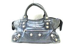 Authentic BALENCIAGA Navy The Giant Part Time 173082 Leather Handbag w/ Strap