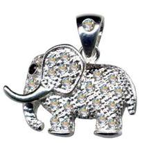 Modeschmuck Kettenanhänger aus 925er Silber Elefant mit Zirkonia*