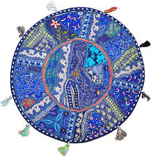 "22"" blue Patchwork Round Floor Pillow Cushion Vintage Indian Foot Stool Bean Bag"