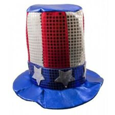 sequin uncle sam usa hat  adult size stars and stripes