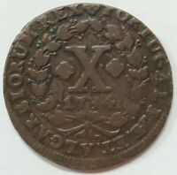 1734 - Portugal D. João V, X Reis - Copper Coin