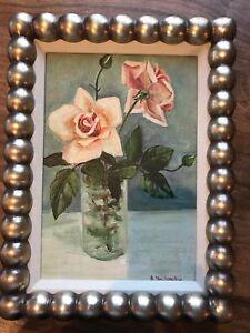 Vintage Floral Painting Of Pink/blush Flower Bouquet In Vase Signed Framed