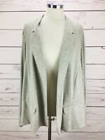J Jill Open Front Heather Gray Pocket Jacket Blazer Linen Women's Size 4X NWT