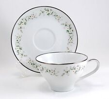 Noritake ANNABELLE 6856 Cup and Saucer Set 2.375 in. White Flowers Green Leaves