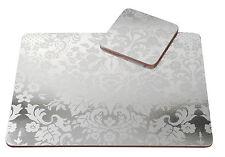 Pimpernel 4 x Damask Silver 30.5cm Placemats & Coasters MDF Cork Back Table Mat
