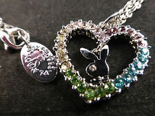 Playboy Rhodium Plated & Swarovski Crystal Heart & Logo Necklace Boxed 75% OFF
