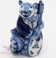 Gzhel Mice mouse in tuxedo w guitar porcelain figurine souvenir handmade