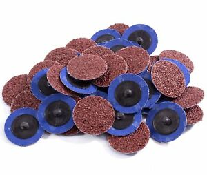 50PCS 2in Roloc Sanding Discs 36 Grit Aluminum Oxide Die Grinder Roll Lock Disc