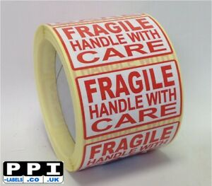 Red Fragile Handle With Care Labels Stickers On Roll, 70mm x 40mm, FRA-07-ROLL