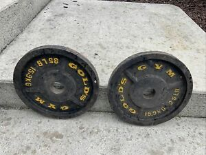 """(2) Vintage35lb GOLDS GYM  Barbell Weight Plates Standard 2""""Hole, 70 lbs total"""