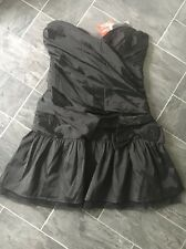 SIZE 10 SATIN LOOK/FEEL RUCHED CROSSOVER BLACK DRESS WITH LARGE BOW DETAIL BNWT