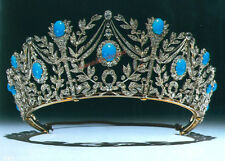LATEST ANTIQUE ROSE CUT DIAMOND 13.40ct SILVER TURQUOISE ENGAGEMENT TIARA CROWN