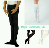Mens white Black Ballet Tights Dance Belt Footed Performance Dancewear Male UK