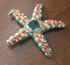 KJL Kenneth Jay Lane Starfish Brooch Pin Rhinestone Faux Turquoise Coral Pearl