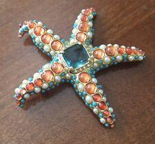 KJL Kenneth Jay Lane Starfish Brooch Pin Rhinestone Faux Turquoise Coral Pearl