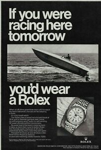 1968 Rolex Oyster Perpetual Datejust Power Boat Race Watch Vintage Print Ad