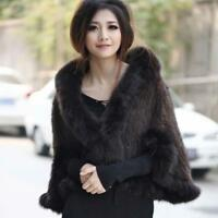 Fashion Womens Knitted Winter Mink Fur Fox Collar Thicken Cape Shawl Coat New