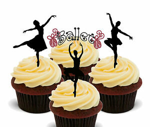 Ballet Dancing Ballerina Silhouettes Edible Cup Cake Toppers Standup Decorations