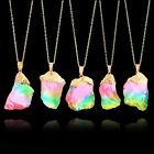 Gold Plated Natural Crystal Chakra Rock Necklace Quartz Pendant Colorful Stone l