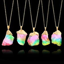 Gold Plated Natural Crystal Chakra Rock Necklace Quartz Pendant Colorful Stone a