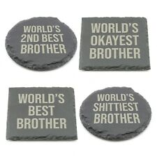 Worlds Best Brother Slate Coaster Personalised Novelty Laser Engraved Coffee Tea