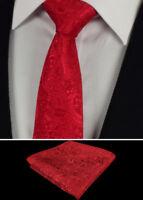 Mens Tie and Handkerchief Silk Floral Pocket Square Hanky Red Necktie paisley