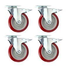 "4 Pack 5"" Caster Wheels Swivel Plate Total Lock Brake Red Polyurethane PU 2000LB"