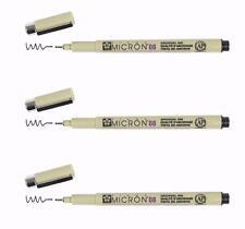 Sakura Pigma Micron Pen - 08 (0.50mm) Waterproof Fade Resistant BLACK 3 PC