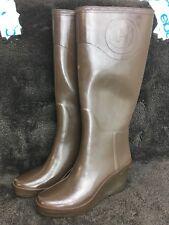 "HUNTER Champery Limited Edition ""Zermatt"" Wedge Heel Brown Rain Boots US 8 EU 39"