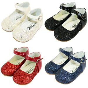 Girls Spanish Party Mary Jane glitter side buckle shoe Red/Navy/Cream/Pink/Black